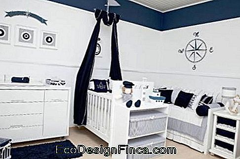 baby sailor bedroom with straight cut furniture