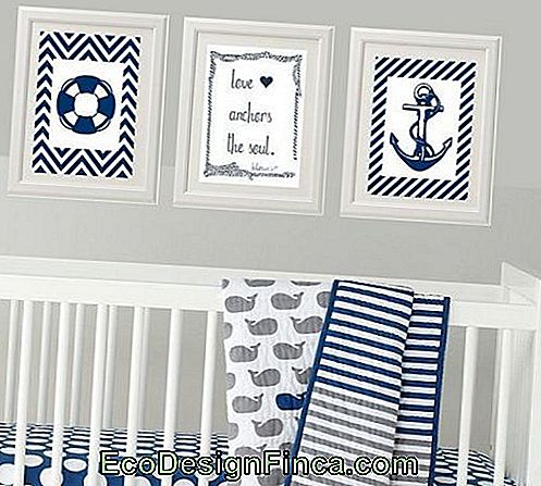 baby sailor bedroom with pictures