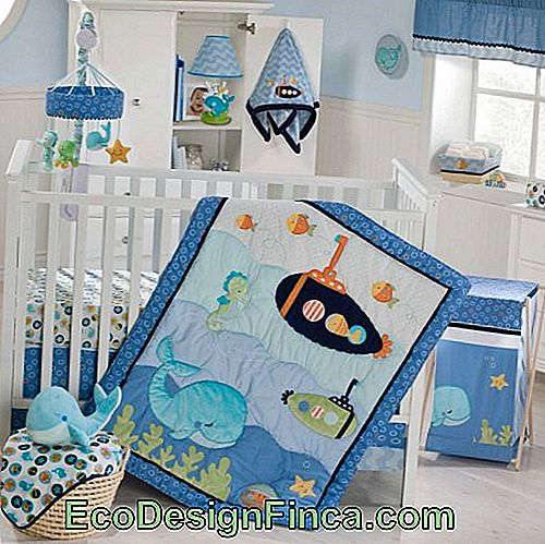 baby blue and white sailor bedroom