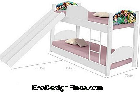 Bunk bed with slide.