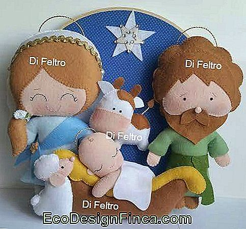 Felt Door Ornament til julen Nativity Scene