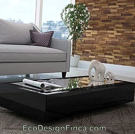 Table basse rectangulaire noire.