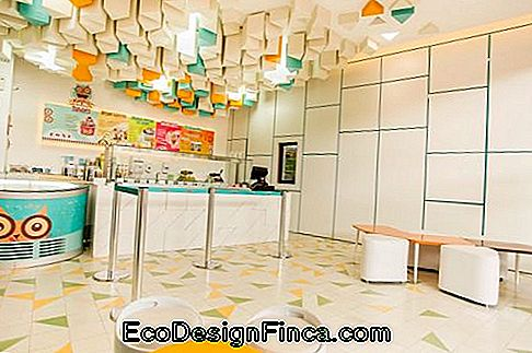 gelateria colorata con soffitto 3D