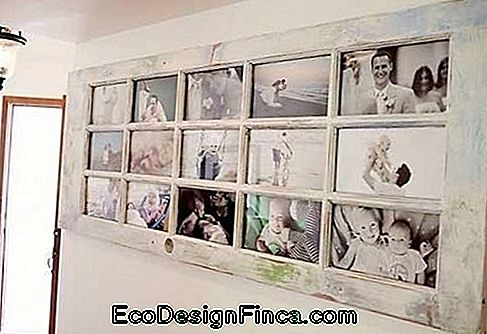 Large picture door, in white color, with several photos.