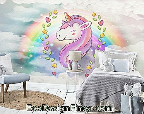 Room decorated with unicorn wallpaper