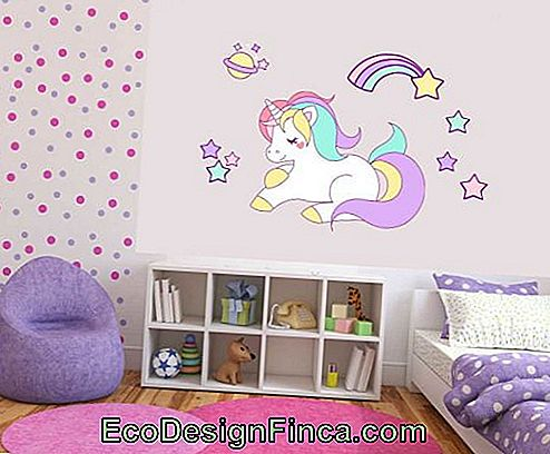 Children's bedroom with unicorn wallpaper