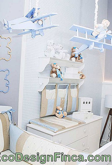 Blue and brown in small baby room decoration