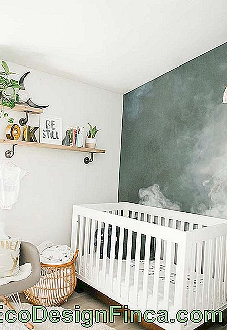 Wall in the smoke style in the small baby room