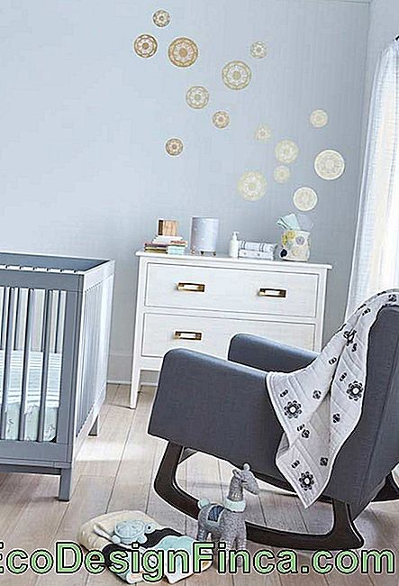 Blue small baby room decoration