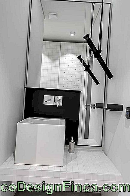 White bathroom with black accents: a modern and elegant proposal