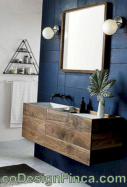Blue wall in bathroom
