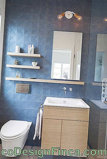 Natural light in blue bathroom