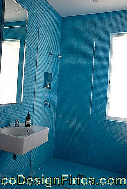 Blue inserts in the bathroom