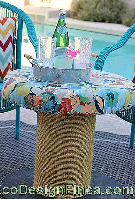 Spool table with fabric top; plus a finishing option for you to get inspired