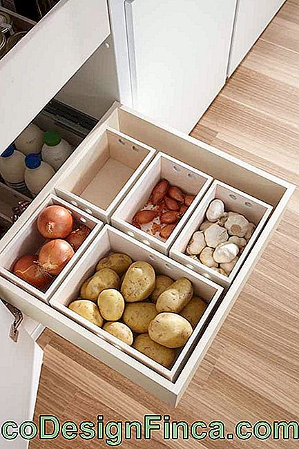 Here, the boxes help organize the food inside the drawers
