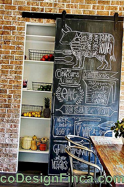 Here, the Chalkboard was made at the pantry door listing common ingredients in the kitchen