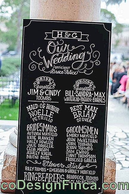 The Chalkboard of this wedding bears the name of everyone who attended the official ceremony