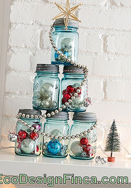 Christmas ornaments in glass jars