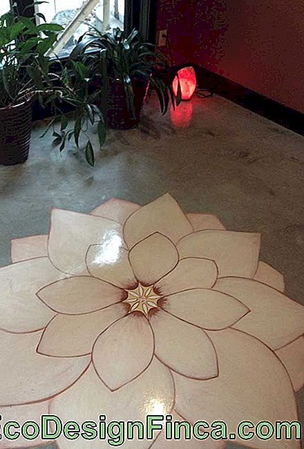 Lotus Flower Painting on Burnt Cement Floor