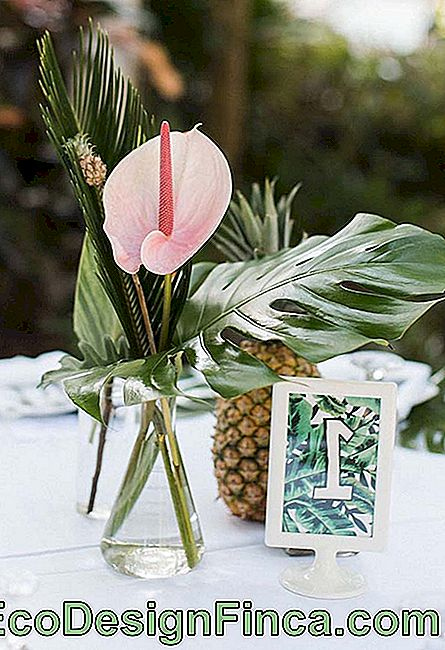 Wedding arrangement made with Adam's rib, palm leaf and anthurium flower