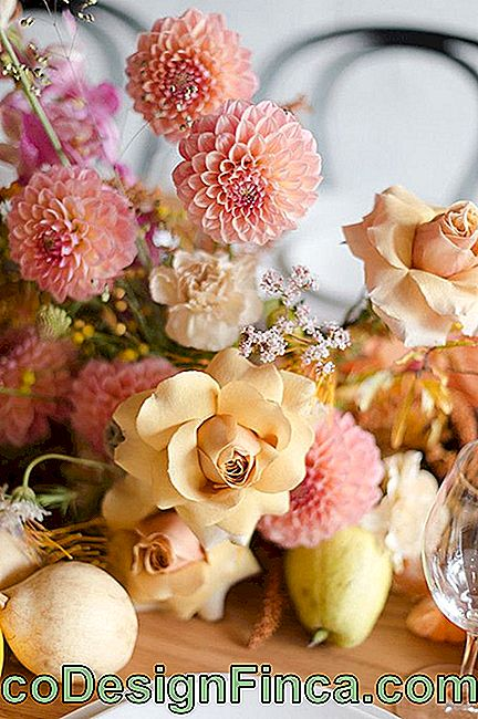 Chrysanthemums and roses: a mixture of very different species, but together they are very harmonious