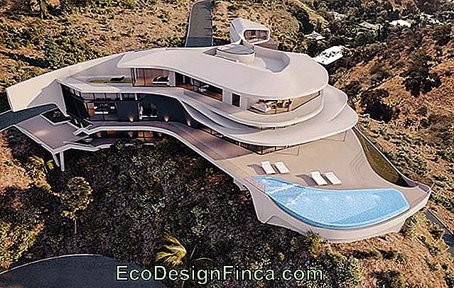 Futuristic house spiked in the mountains
