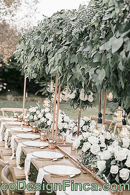 Arrangements pour la table de mariage en plein air